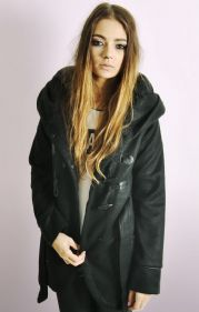 Ladies Toggle Button Duffle Coat with Oversized Hood